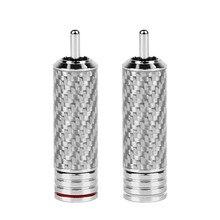 2/20/50 stücke RCA Stecker CMC RCA Stecker Lautsprecher Terminals Carbon Faser Rhodium Überzog RCA Stecker Männlich Länge 54mm OD 10mm Solder