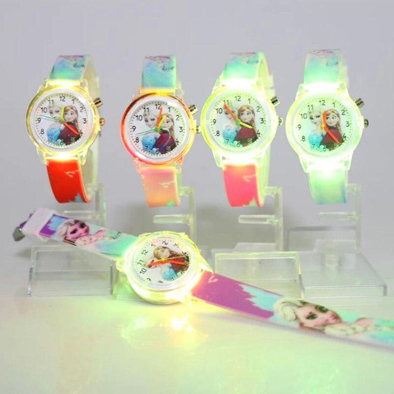 Человек-Паук принцесса дети часы красочные источник света мультфильм мальчик девочка часы дети подарок часы Наручные часы Feminino