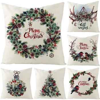 Merry Christmas cushion cover 45*45 Flower Pillowcase Cotton Linen sofa cushions Pillow cases pillow covers 0269 hot sale merry christmas pillow case square pillow cases new year cartoon pillow covers size 45 45cm
