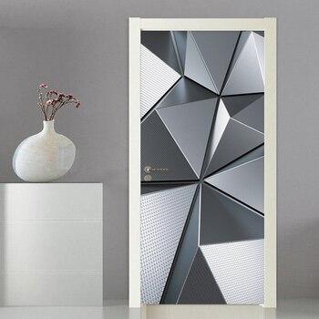 Murales De Puerta 3D Papel Pintado Moderno Geométrico Imitación Metal Textura Puerta Pegatina PVC Autoadhesivo Impermeable Puerta Cartel 3D Calcomanía