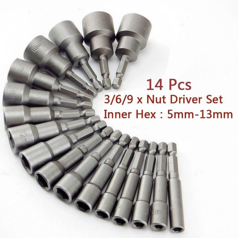 14pcs 5mm-13mm Hex Socket Sleeve Nozzles Nut Driver Set Drill Bit Adapter Adaptador