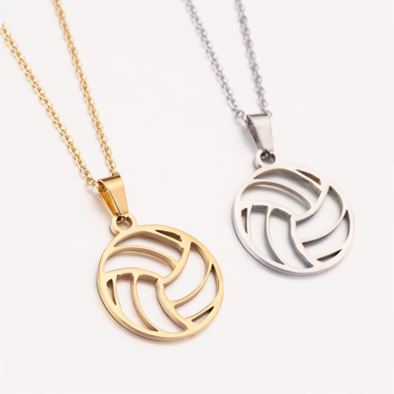 SMJEL Trendy Football Volleyball Soccer Charm Necklace Pendant Sport Ball Jewelry Men Boy Children Gift Stainless Steel Collare