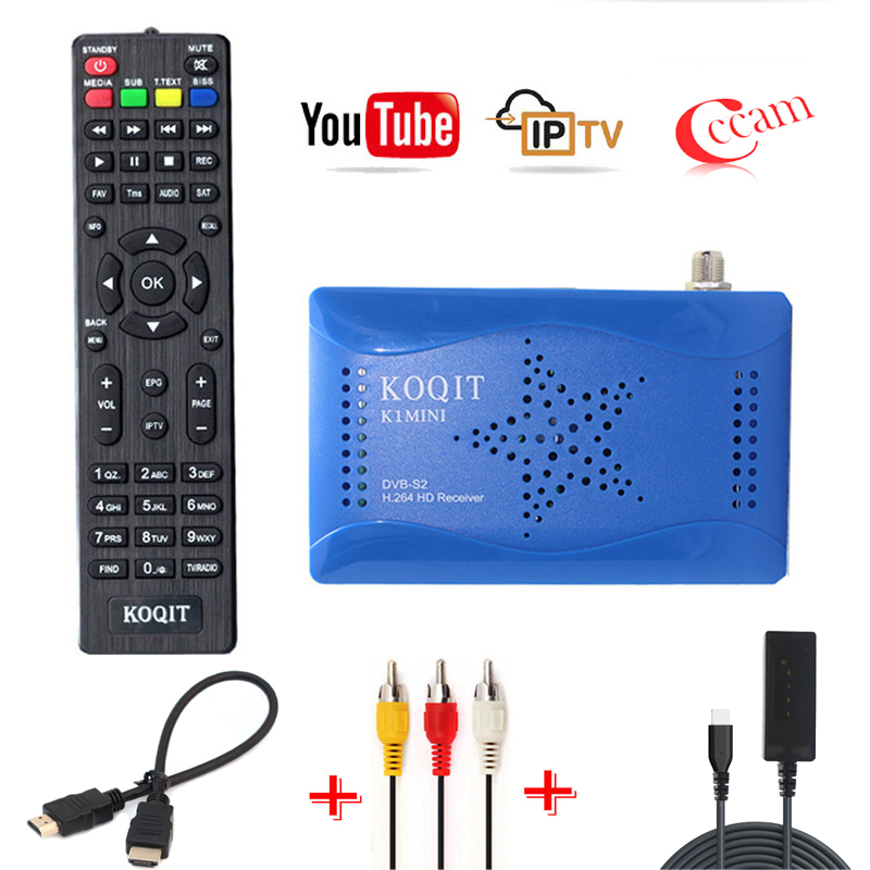 Koqit Free Receptor Tuner DVB S2 Digital Tv Box DVB-S2 Satellite Receiver Cccam/Newcam Scam Cline Biss Decoder USB Wifi Youtube