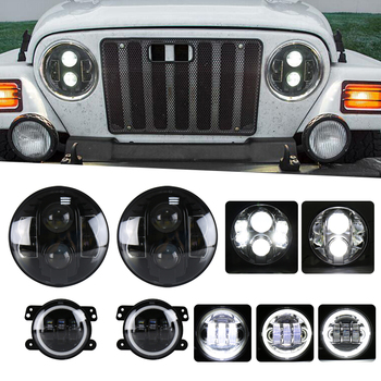"pair 7"" 80w Led Headlights High Low Beam + pair 30W 4inch fog light DRL 30W Fog Light For JEEP Wrangler JK 07-15"