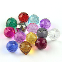 15mm/20mm/30mm/40mm Colorful Suncatcher Glass Hanging Crystal Faceted Balls Christmas Balls Glass Chandelier Accessories Parts