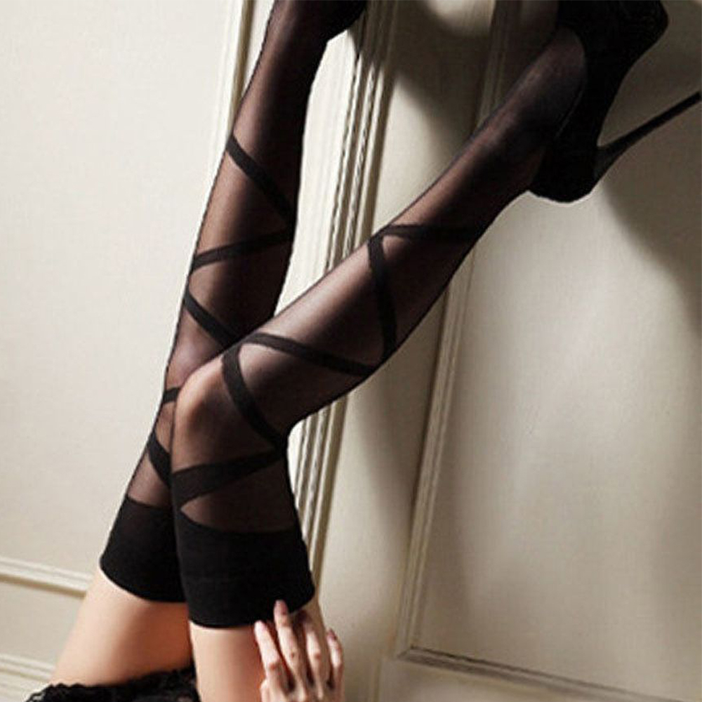 1 Pair Women Sexy Lace Top Stockings Stay Up Thigh-Highs Ultrathin Women Silk Stockings Female Over Knee Stripes Stockings