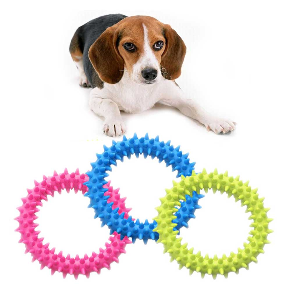 Pet Toys Dog Biting Ring Toy Soft Molar Rubber Dog Toy Pet Bite Cleaning Tooth Toy Pet educational toys multiple color(China)