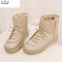 LZJ Winter Boots Women Warm Snow Boots Winter Women Keep Warm Shoes Female Mid-calf Platform Boots 2019 Woman Shoes Ankle Boot(China)
