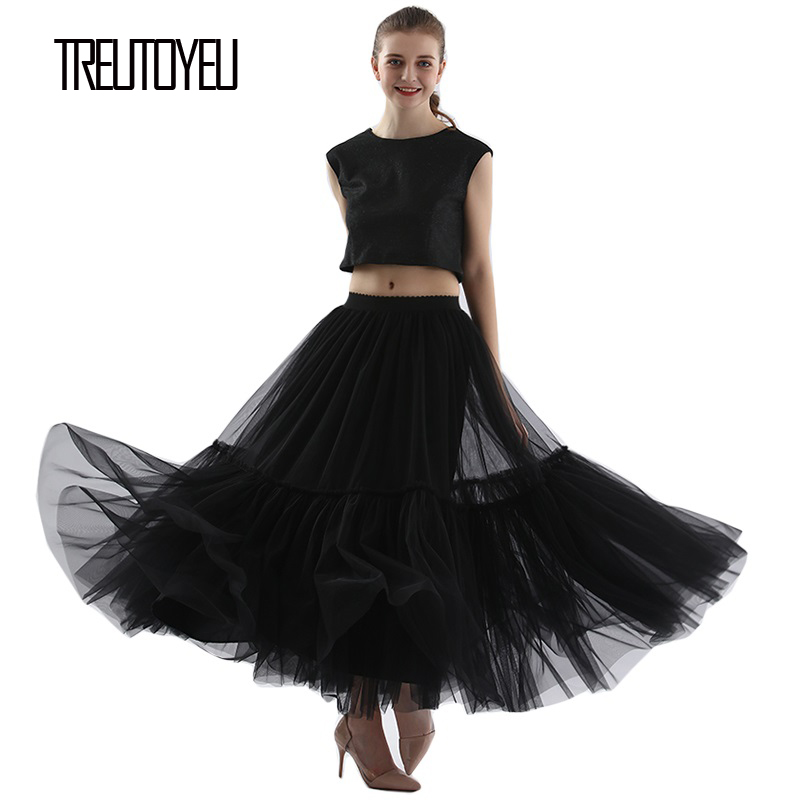 Super Soft Tulle Skirt Hand-made Grey Black Maxi Long Pleated Skirts Womens Vintage Petticoat Lange Rok Jupes Falda