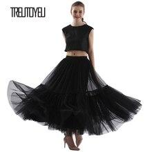 Treutoyeu Design luxe plissé Tulle Jupe noir gris doux maille taille haute Maxi jupes longues femmes Faldas Mujer Moda 2020 Jupe