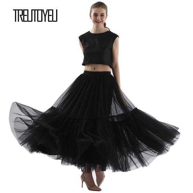 Treutoyeu ออกแบบหรูหรา Tulle จีบกระโปรงสีดำสีเทานุ่มตาข่ายสูงเอว Maxi กระโปรงยาวผู้หญิง Faldas Mujer Moda 2020 jupe