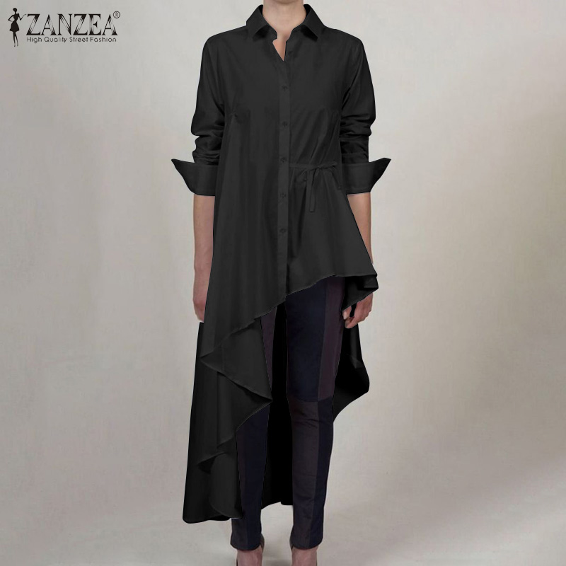 2020 ZANZEA Fashion Women Lapel Neck Long Sleeve Asymmetrical Blouse Spring High Low Blusas Solid Tops Shirts Vestido Plus Size