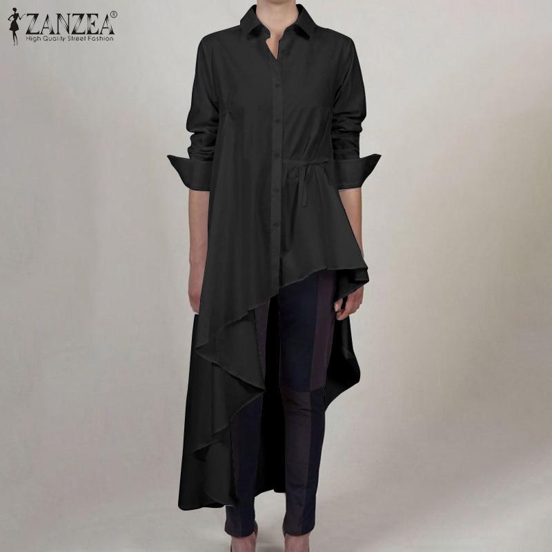 2020 ZANZEA Fashion Women Lapel Neck Long Sleeve Asymmetrical Blouse Spring High Low Blusas Solid Tops Shirts Vestido Plus Size