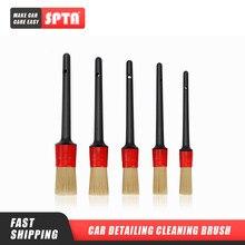 Spta interior do carro detalhe escova de cerdas de cabelo de javali escova para a limpeza do carro detalhe automático ferramentas dashboard escova de limpeza