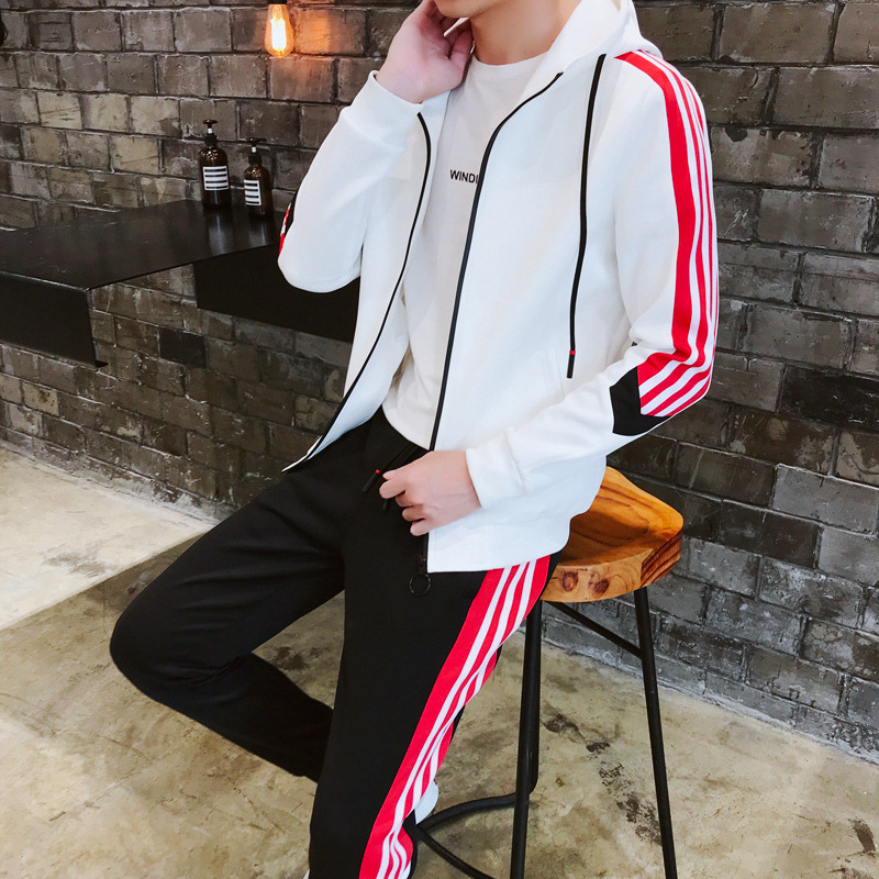 2020 New Products Leisure Sports Suit Men's Hooded Cardigan Contrast Color Black And White Red Joint Micro Elastic Baseball Unif