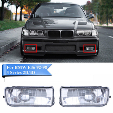 2pcs car bumper fog lights clear lens housing case for bmw e36 92 98 MagicKit Front Bumper Fog Light For Bmw 3Ser E36 1992-1998 H1 Base Without Bulbs Car-Detector Headlights Lens Lamp Car-Styling