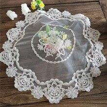 Роскошная Европейская круглая кружевная вышитая скатерть, домашняя кухонная посуда, небольшой Балконный журнальный столик, подставка для мебели, Пылезащитная ткань
