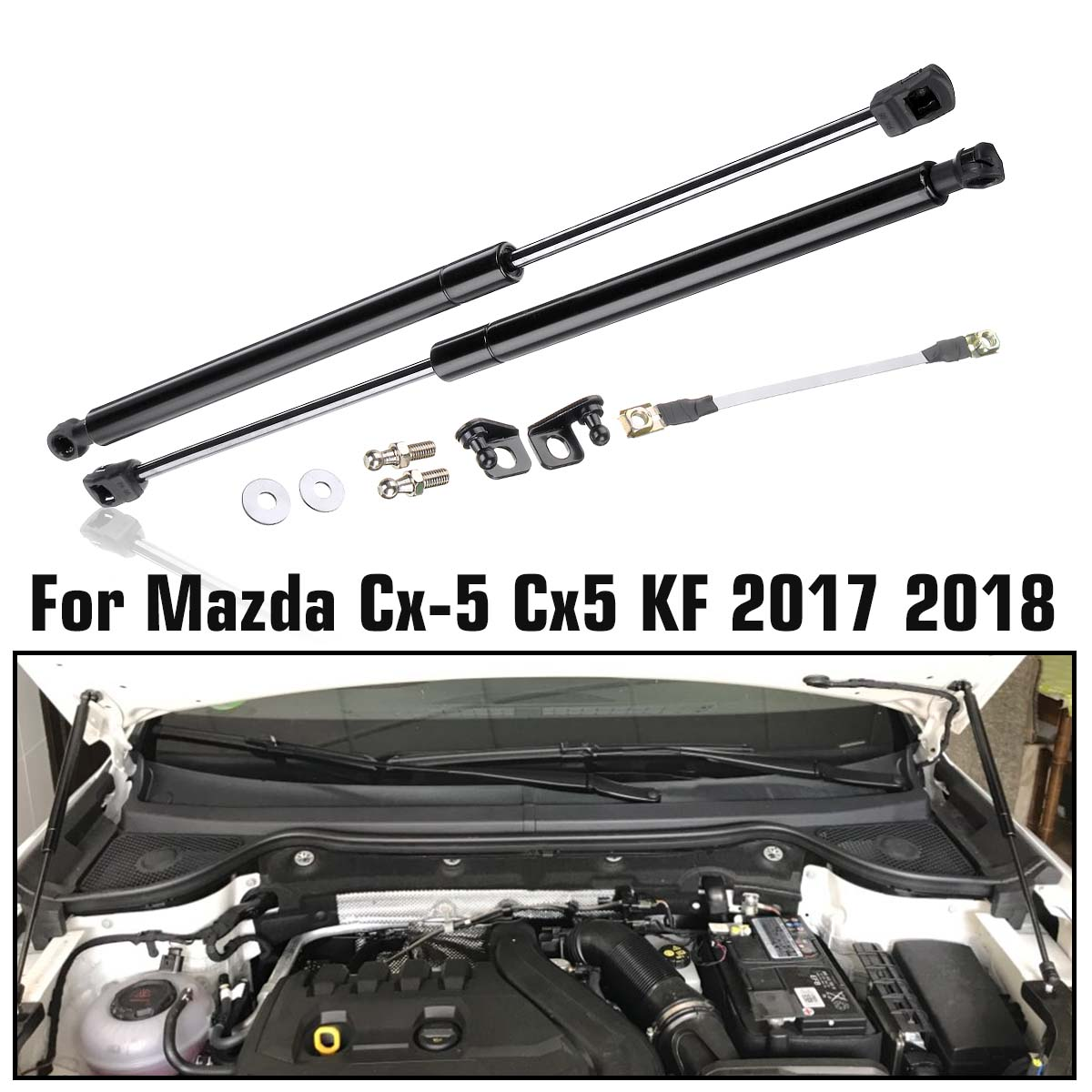 Car Engine Cover Supports Struts Rod Front Bonnet Hood Lift  Hydraulic Rod Strut Spring Shock Bar for Mazda CX5 CX-5 2017 2018