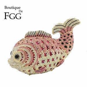 Женский мини-клатч Boutique De FGG, с розовыми кристаллами и стразами, для свадьбы