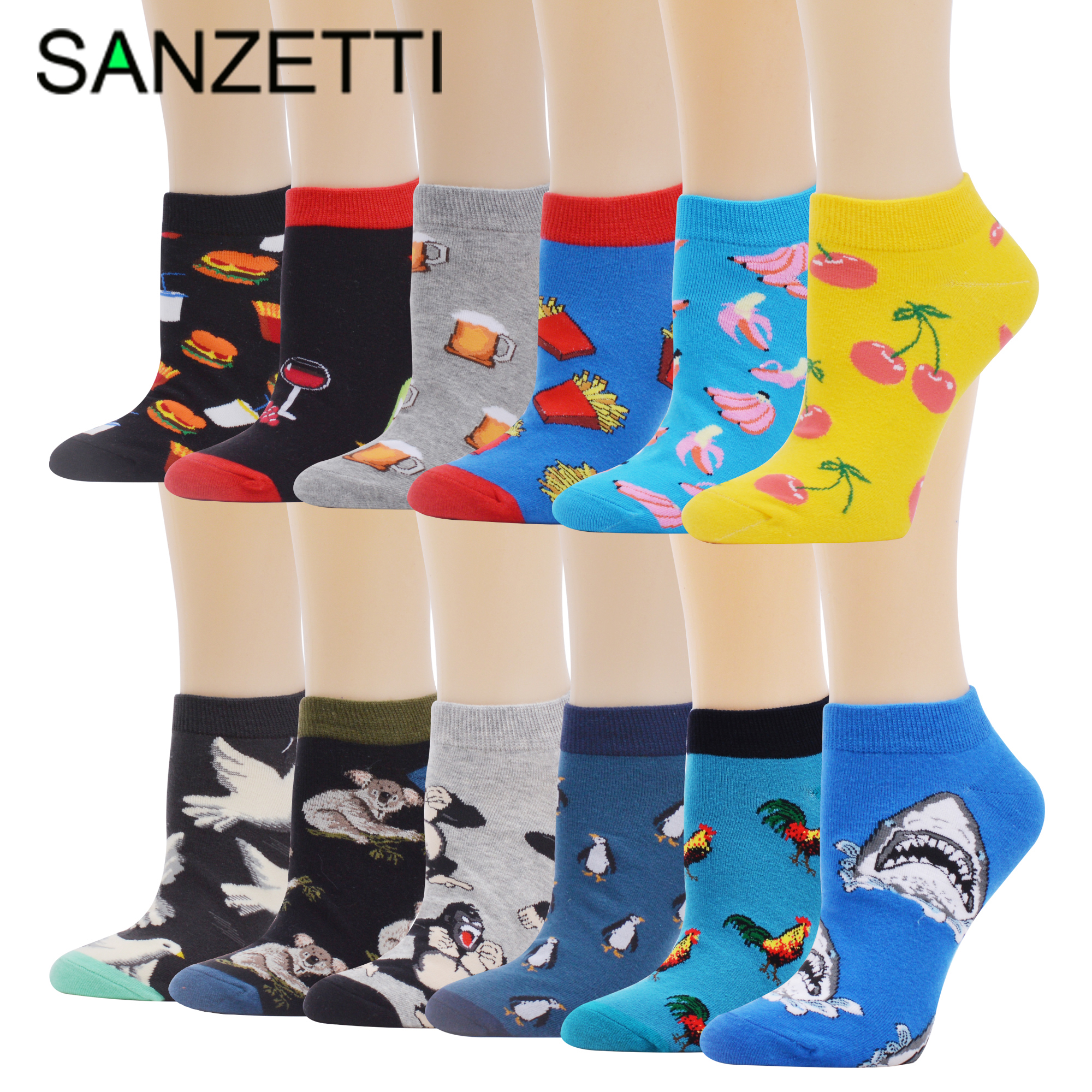 SANZETTI 5-12 Pairs Men's Ankle Socks Summer Colorful Happy Funny Combed Cotton Short Burger Pattern Stripe Wedding Party Socks
