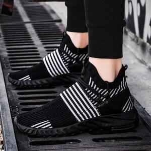 Image 4 - Socke Schuhe Mesh Turnschuhe Neuheiten Casual Flache Müßiggänger Mode Tenis Masculino Adulto Atmungsaktiv Männer Turnschuhe Slip auf Schuhe
