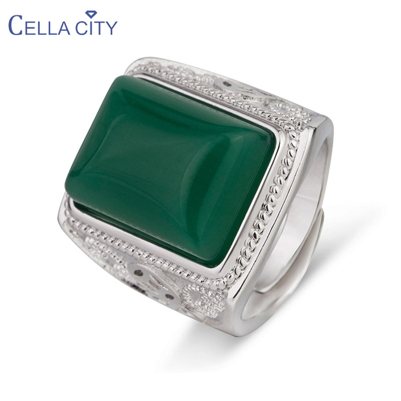 Cellacity Ethnic style Ring for Men Silver 925 Jewelry Geometry Gemstones Green Agate Gorgeous Meal Opening adjustable Rings