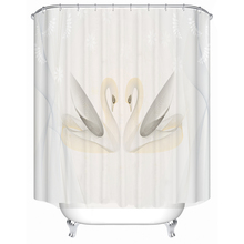 Simple geometric swan polyester printed waterproof shower curtain bathroom partition curtain factory direct sales c20 id waterproof direct factory card