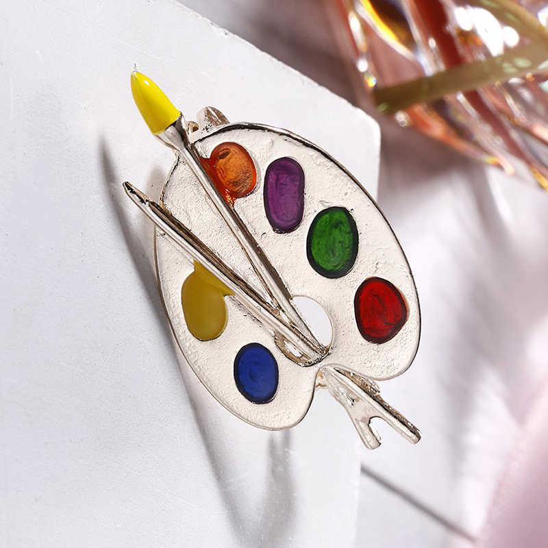 Warna-warni Fashion Bros Enamel Artis Dekoratif Palet Lencana Unisex Anak Kostum Sweater Tas Kerah Pin Hadiah