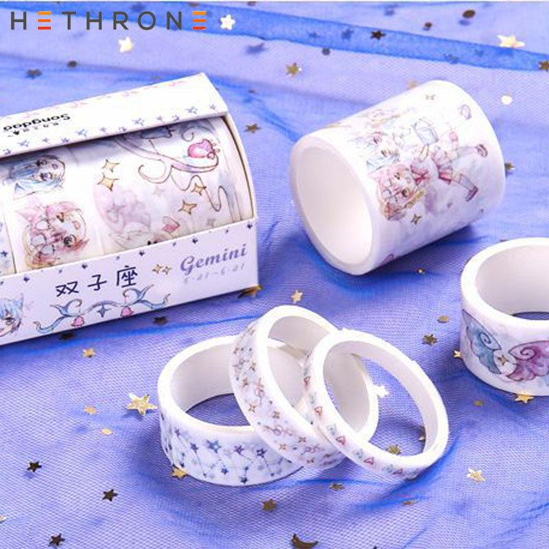 Hethrone 5 Pcs/pack Cute Twelve Constellations DIY Decoration Scrapbooking Masking Tape Diary Adhesive Tape Washitape Washy Tape