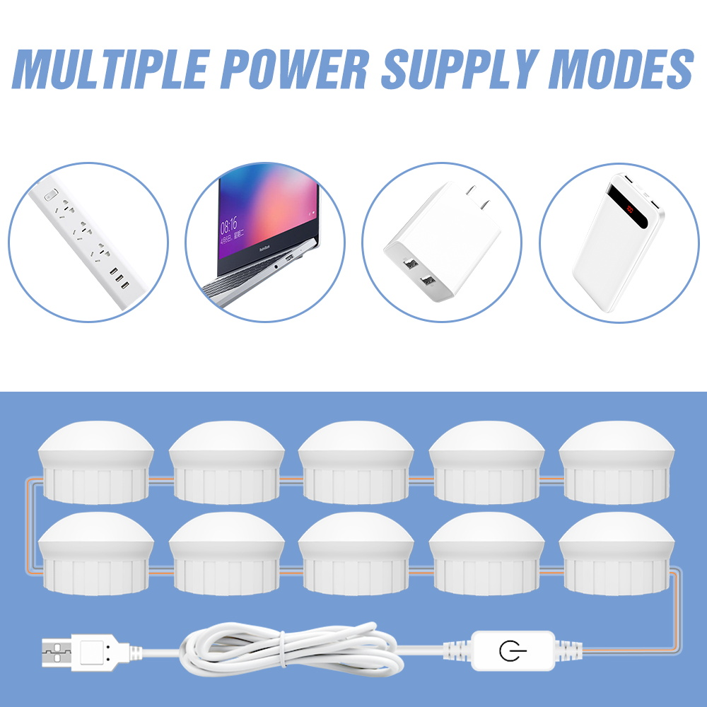 USB 12V Hollywood Vanity Mirror Bulbs Kit Led Makeup Light 3 Colors Dimmable Bathroom Cosmetic Mirror Wall Lamp Cosmetic Bulb 3