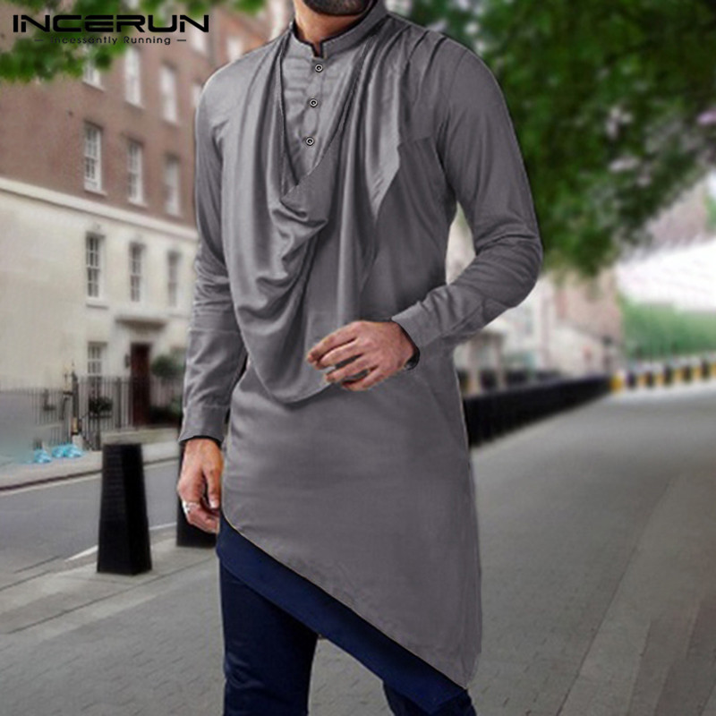 INCERUN Men Shirt Indian Clothes Patchwork Stand Collar Long Sleeve Robes Retro Muslim Pakistan Men Irregular Shirt Streetwear 7