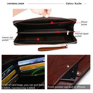 Image 4 - Celinv Koilm erkekler el çantası büyük kapasiteli erkekler büyük cüzdan telefon Passcard cep yüksek kaliteli çok fonksiyonlu patron çanta erkekler için