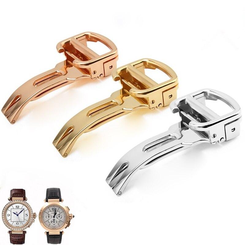 Watch accessories stainless steel buckle for Cartier folding buckle 12 14 16 18 20mm waterproof butterfly buckle strap