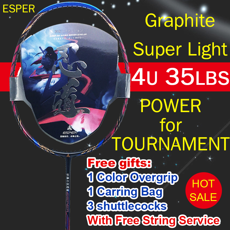 ESPER Badminton Racket 4U High Quality Graphit Carbon Fiber Racquet Lightweight 35LBS With String Overgrip Professional Adult