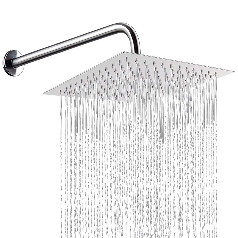 Square Stainless Steel Shower Head Bathroom Rainfall Top Sprayer High Pressure Rainshower