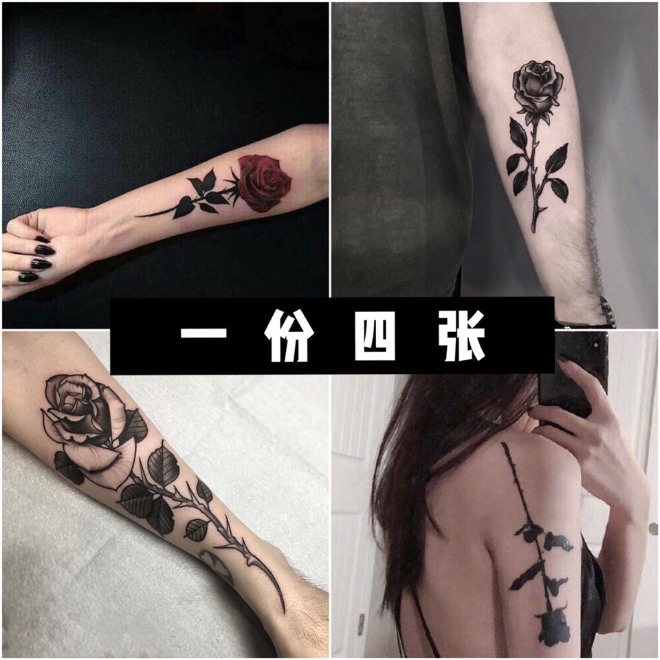 A Set Of Four Rose Flower Tattoo Stickers, Waterproof Arm Durable Simulation Net Red Men And Women Cover Scars