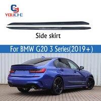 G20 бампер полоса для установки губы боковых юбок для BMW 3 серии G20 4 дверный седан 2019 + черный цвет, вид сбоку юбка
