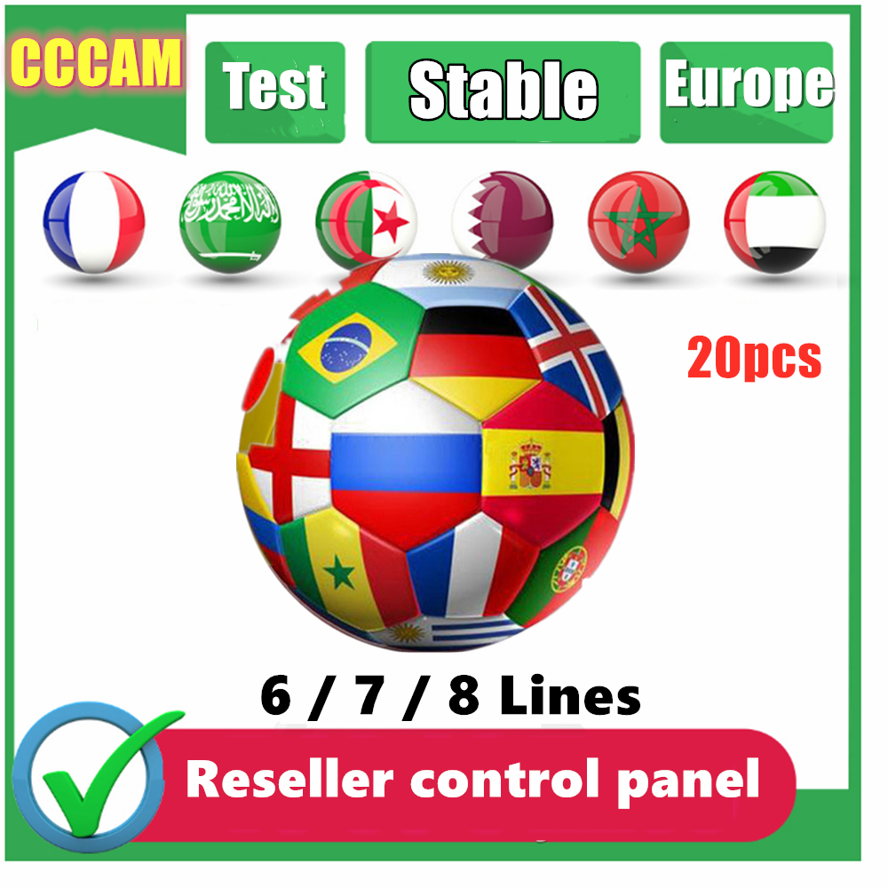 20PC For Europe 6 7 8lines Ccams Stable Server Oscam Spain Portugal Germany For Receptor Satellite With Reseller Control Panel