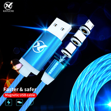 Visible Flowing Glowing Magnetic Micro USB/Type-C Smart Charging Data Ligting Cable for iPhone LED Luminous line