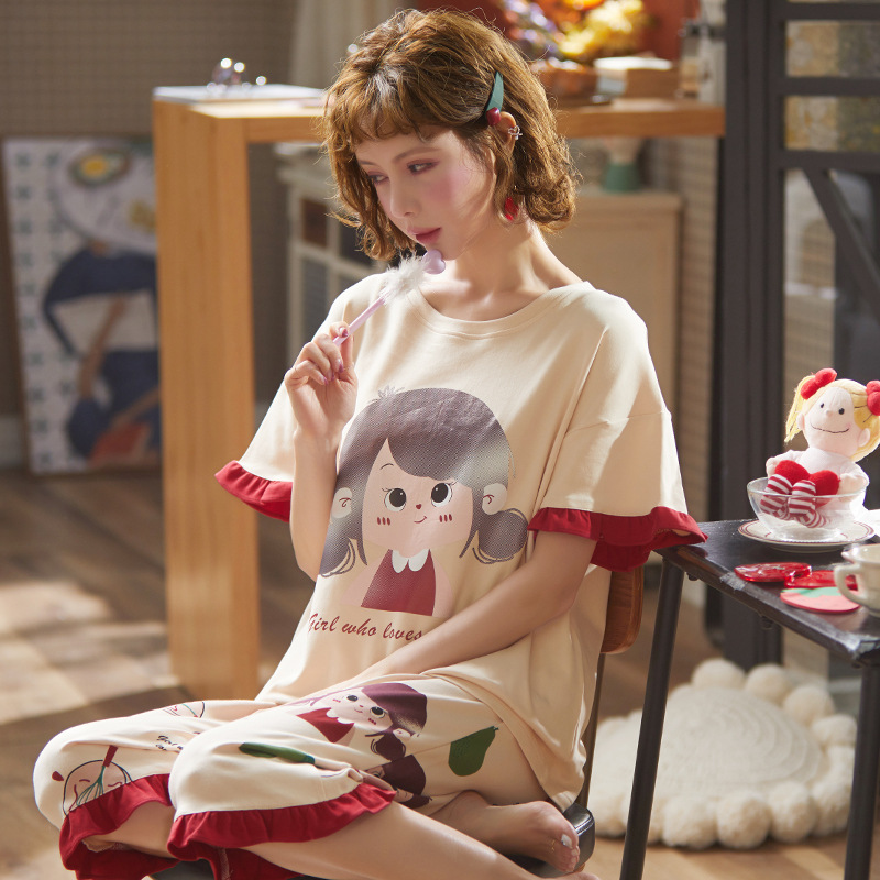 New Casual Sleepwear Sets For Women Lovely Cartoon Pattern Pajamas Cotton Short Sleeve Summer Homewear Hot Sale Female Pijamas