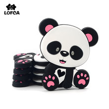 LOFCA Panda Silicone Teether Panda Shape For Pacifier Clips DIY Cute Teething Toys Silicone Beads Baby Teether