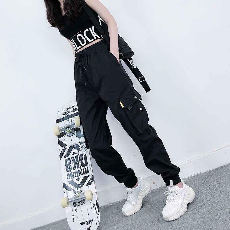 Pantalon Holgado Para Mujer De Cintura Alta Estilo Hip Hop Casual Retro Pantalones Y Pantalones Capri Aliexpress
