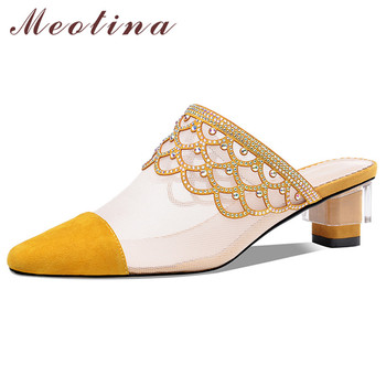 Meotina Women Pumps Crystal Kid Suede Mid Heel Mules Shoes Pointed Toe Cutouts Thick Heels Footwear Female Summer Yellow Size 40 цена 2017