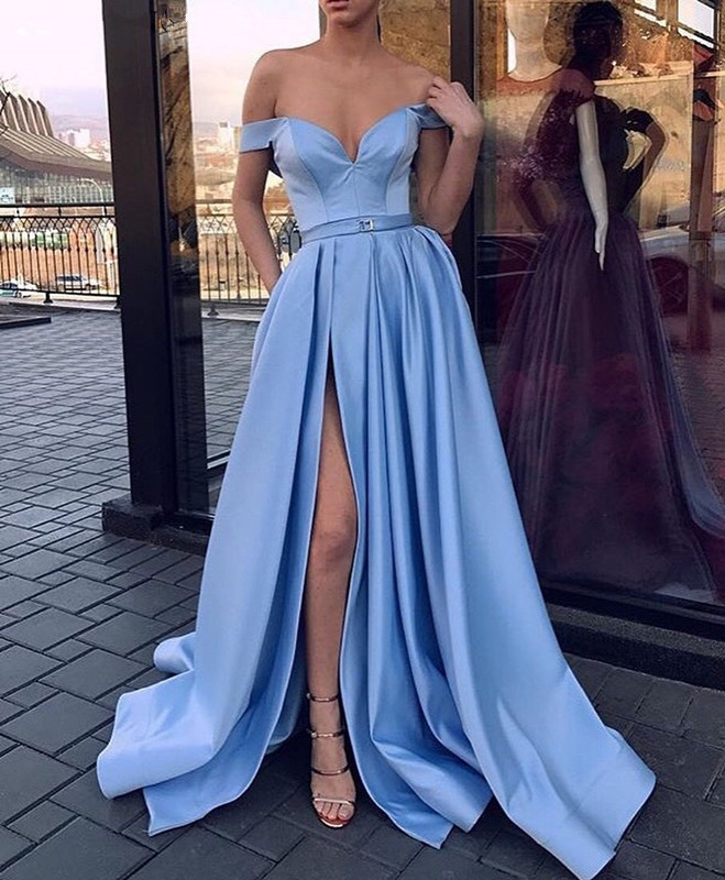 Sky Blue   Prom     Dress   2019 A-line Off The Shoulder Slit Sexy Formal Long   Prom   Gown Evening   Dresses   Robe De Soiree