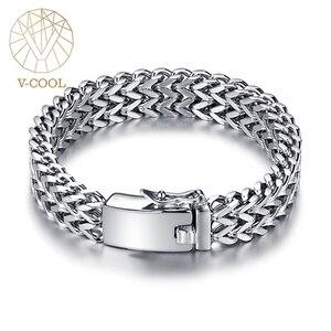 Image 1 - Prata antiga cor de aço inoxidável 12mm largura buda pulseira para mulher corrente bangle encantos pulseiras masculino pulseira jóias 014