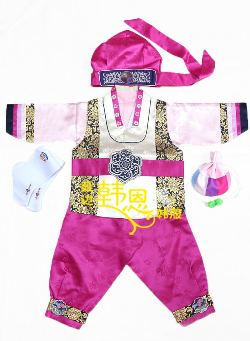 Hot Korean traditional hanbok, cute costume suits for baby boys birthday party, Korean national kids