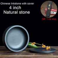 Chinese 4 inch Inkstone with Cover China Sumi-e Calligraphy Writing student Inkslab Grinding Ink-well Natural stone Inkwell