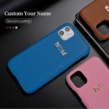Custom Pebble Grain Genuine Leather Luxury Gold Initial Name Phone Case Cover For iPhone 12 11Pro  X XS XR Max  7Plus 8Plus