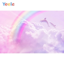 цены Yeele Baby Shower Photocall Rainbow Clouds Dolphins Photography Backdrops Personalized Photographic Backgrounds For Photo Studio