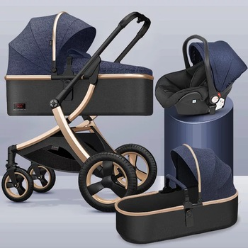 Stroller High Landscape,Baby Stroller 3 in 1 With Car Seat,Folding Baby Carriage ,for 0-3 Years Two Way Newborn Pram,baby car image